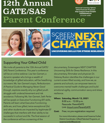 Parent Workshops: GATE Parent Conference and Distance Learning Playbook for Parents