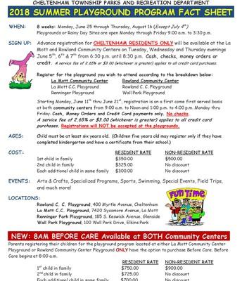 Cheltenham Township Summer Playground Fact Sheet