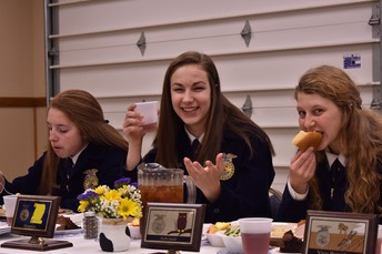 Officers Paige Rohrbach, Grace Prout, and Kylee Hetrick enjoy their meal.