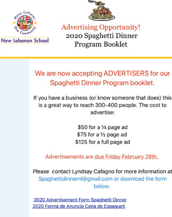 New Lebanon School Spaghetti Dinner Advertising