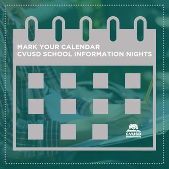 Marque su calendario: Próximas noches de información escolar y excursiones escolares Marque su calendario: Próximas noches de información escolar y excursiones escolares