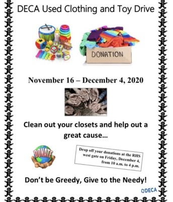 Deca Clothing Drive Nov 16-Dec 4