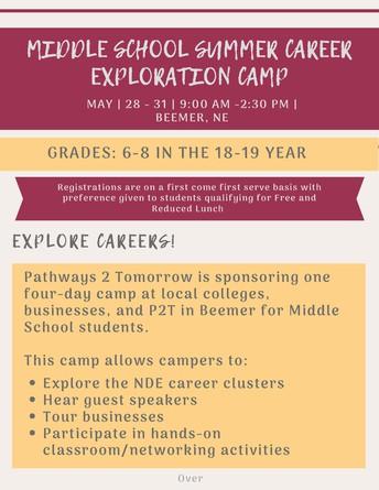 Middle School Summer Career Exploration Camp
