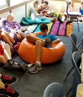 Reading in a bean bag
