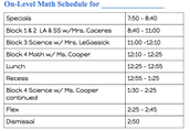 Schedule for On-Level Math