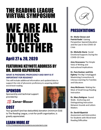 The Reading League Virtual Symposium: We Are All In This Together