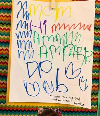 4 year olds writing