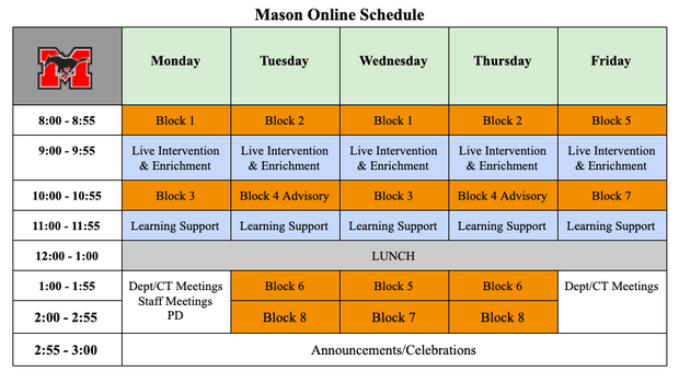 George Mason High School Online Schedule