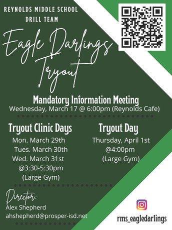 2021-22 Reynolds Eagle Darlings Drill Team Tryouts - March 17th