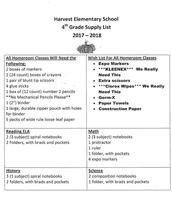 4th Grade Supply List