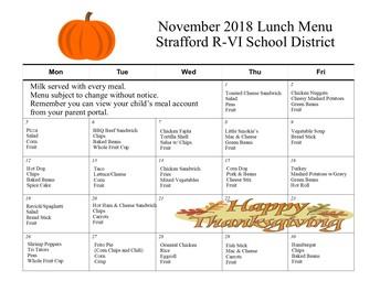 November Lunch Menu
