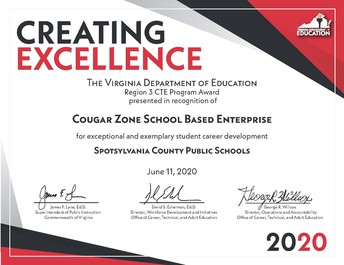 Courtland High Wins VDOE 2020 CTE Creating Excellence Award