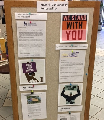 Image of #BLM University of Montevallo support display