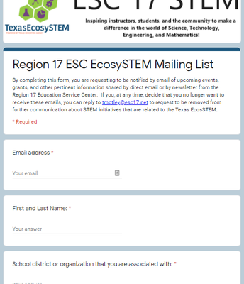 STEM mailing list form