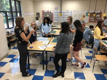 Ms. Maharry leads students in a recent textiles class