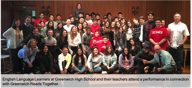 English Language Learners and their teachers pose for a group picture after seeing a performance at the Greenwich Arts Council
