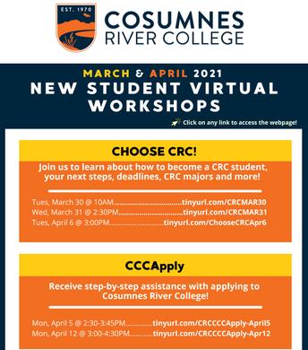 CRC Student Virtual Workshops