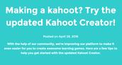 Kahoot Creator UPDATES