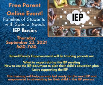Reminder: Butte County SELPA Community Advisory Committee September Training: IEP Basics