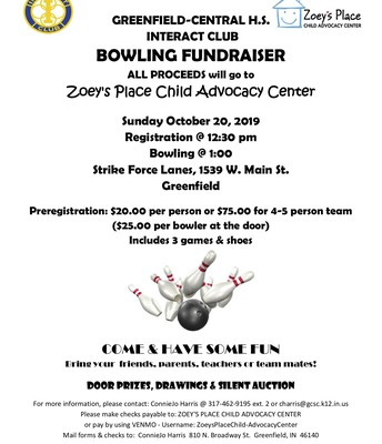 Bowling Fundraiser on Oct. 20th