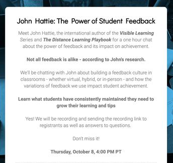 John Hattie on The Power of Student Feedback-FREE WEBINAR THIS THURSDAY