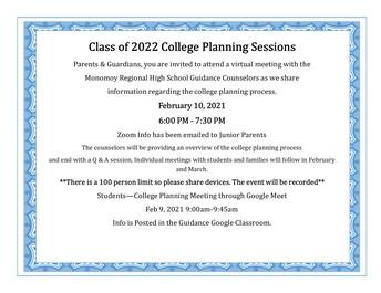 Junior Parent College Planning Night - Feb 10, 2021 - 6:00 P.M.