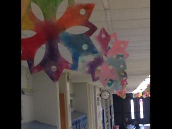 1st Grade Snowflakes in Hallway