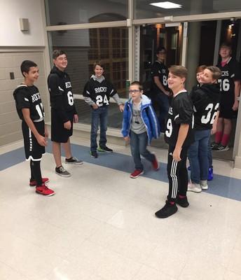 Rock Football Players Greeting at Byrd