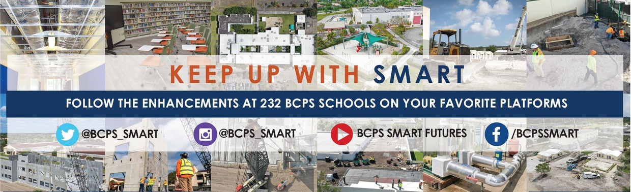 Social Media Banner: Keep Up with Smart. Follow the Enhancements at 232 BCPS Schools on All Your Favorite Platforms:Twitter, Facebook, YouTube, and Instagram