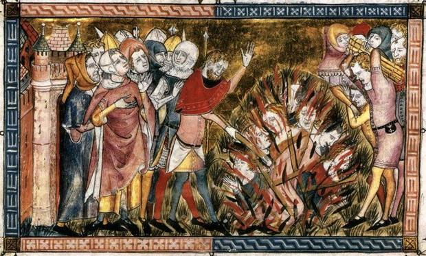 14th-century manuscript Antiquitates Flandriae depicting the 1349 Strasbourg Massacre