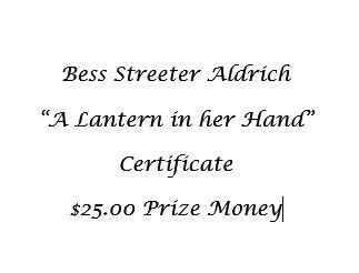 $25.00 Special Award for Bess Streeter Aldrich exhibit + Certificate and Book