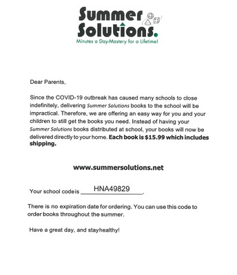 Summer Solutions books will be delivered directly to your home!
