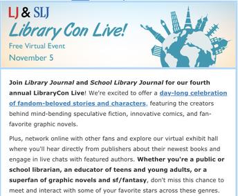 LIBRARY CON LIVE! NOVEMBER 5TH