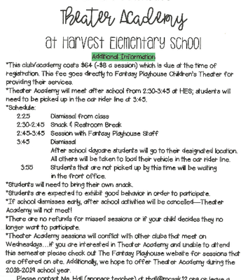Theater Academy Registration Pg. 1