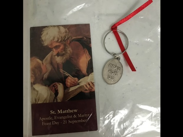 Thank you to our PTO for the prayer card and medals as we celebrated our patron saint on Sept. 21!