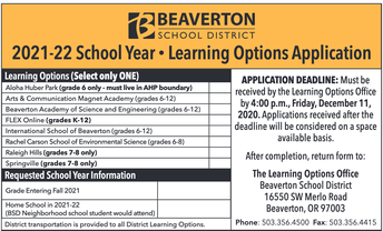 Middle & High School Learning options