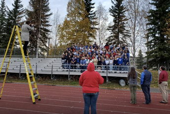Seniors getting their class picture taken