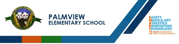 A graphic banner that shows Palmview Elementary School's name and SMART logo