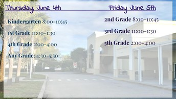 See schedule for more details