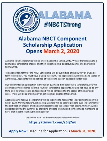 Spring 2020 National Board Scholarship Announcement!