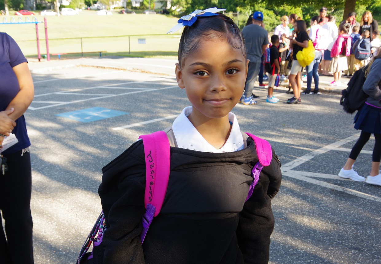 Photo of a girl student on her first day of school last year.