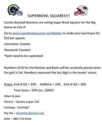 PURCHASE YOUR SUPER BOWL SQUARES TODAY!!!