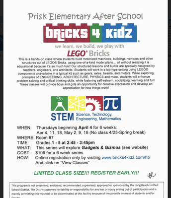 Bricks 4 Kidz @ Prisk Begins April 4th!