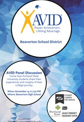 Beaverton AVID Portland State University College Information Night!