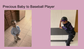 baby photo of student alongside current photo of student