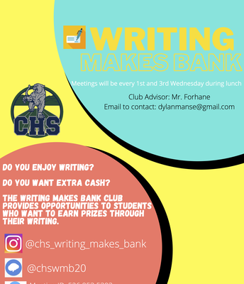 Writing Makes Bank - Updated Meeting Days!