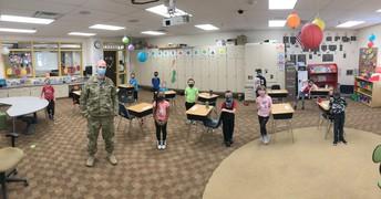 Sergeant Sarrazin visits first grade class
