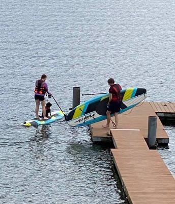 Sasha, Anastasia and Scruffy went paddle boarding!