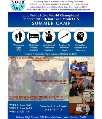 Ct Debate &  Model  UN Summer Camp