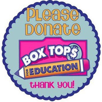 Circle with Boxtops for Education inside and text that says Please Donate Box Top$ for Education. Thank you!